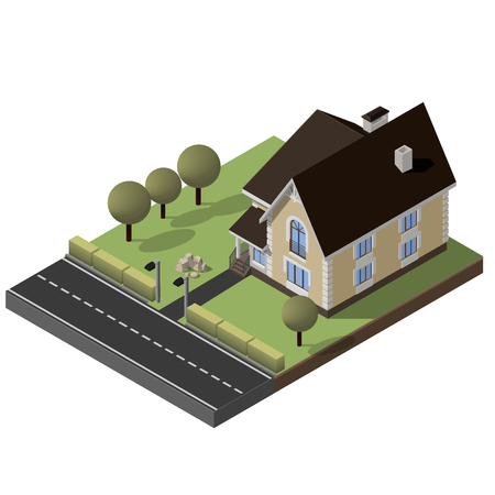 suburban street: Cottage, Small House With Yard, Green Grass, Road, Isometric Vector EPS10