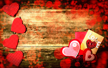 love hearts: Love hearts on wooden texture background, valentines day card concept
