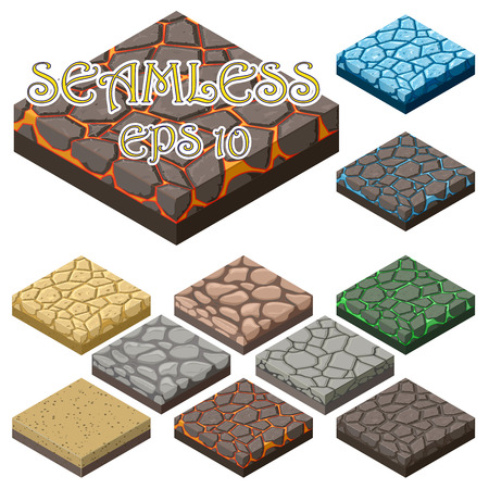 rock layer: Game ground items. Nature stone, landscape in cartoon style interface, rock and water layer. seamless tiles