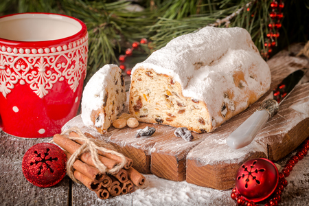 traditional german christmas cake on a rustic festive table