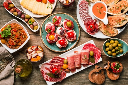 spanish tapas and sangria on wooden table, top view Stock fotó