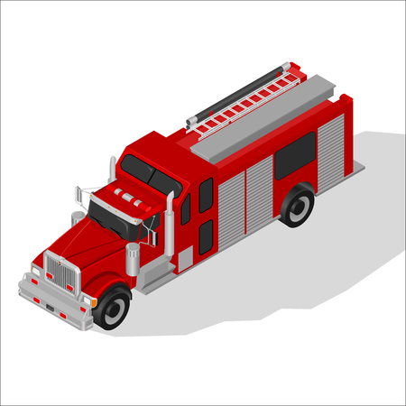 Isometric High Quality City Element with 45 Degrees Shadows . Fire Truck. Illustration
