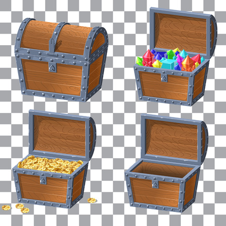 Wooden Chest set for game interface.Vector illustration. treasure of gold coins on white background closed, chest with jewels Ilustração