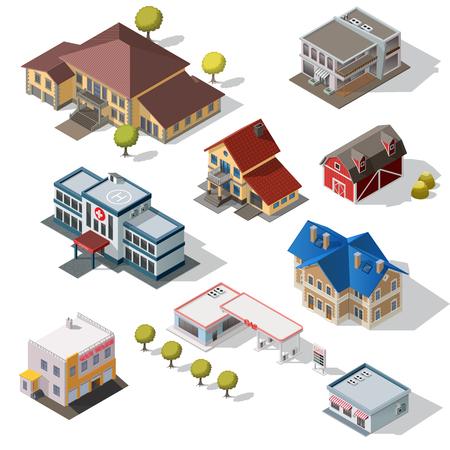 Edificios urbanos isométricos de alta calidad de la calle de la ciudad aislados en fondo. Foto de archivo - 69456210