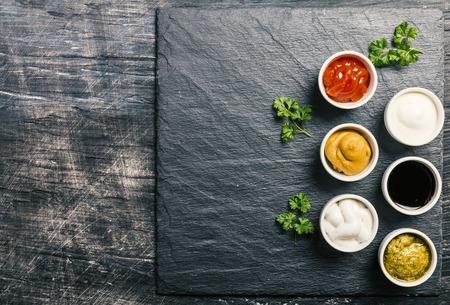 bowls of various dip sauces 스톡 콘텐츠