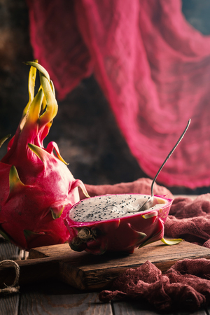 Asian Dragon fruit on the wooden background