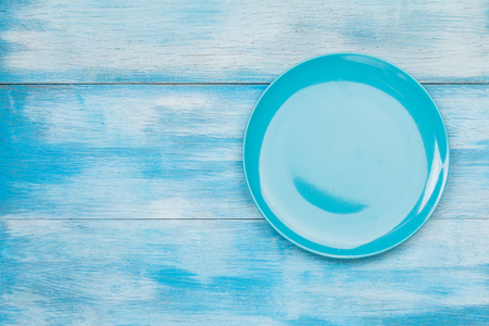 Top view of blue empty plate Stock Photo