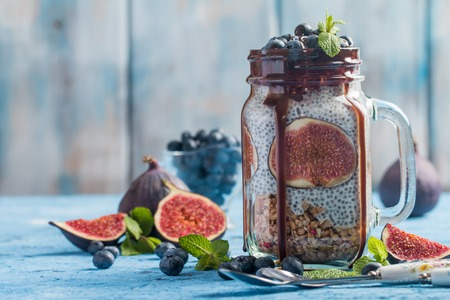 Glass jar of healthy breakfast Stock Photo