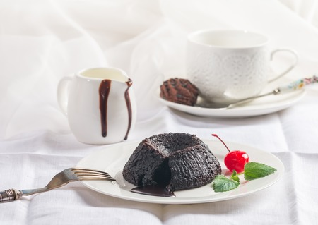 Hot chocolate pudding Stock Photo