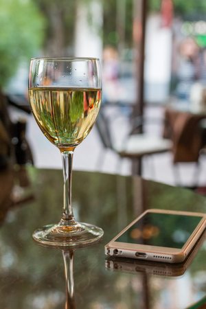 glass of wine in restaurant Stock Photo