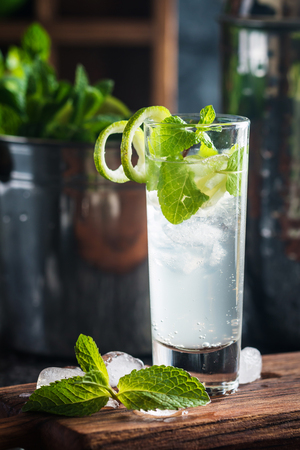 cocktail mixer: cocktail with lime and mint in short glass on dark stone background