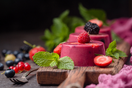 Summer dessert with berries and yogurt as a jelly pudding Standard-Bild