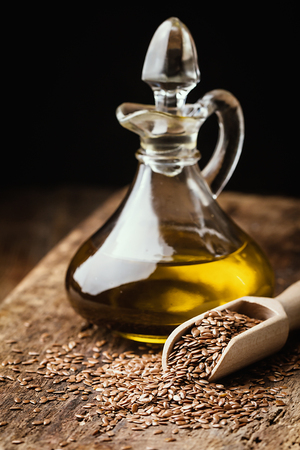 linseed: flax seeds and linseed oil Stock Photo