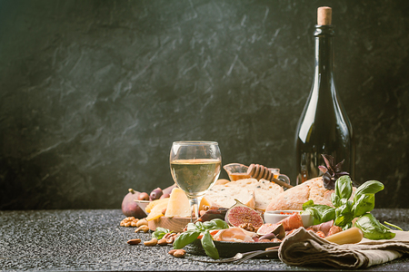 Italian antipasti wine snacks set Stock Photo