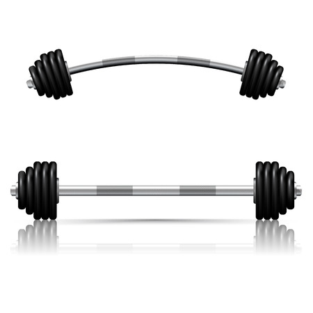 Weights barbell against white ,