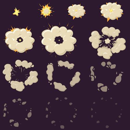 夜煙分解効果のアニメーション。漫画爆発フレーム  イラスト・ベクター素材