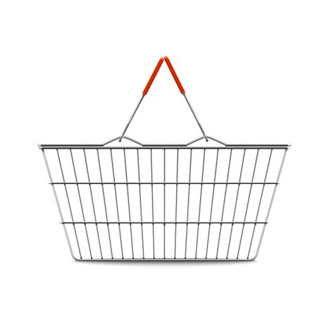 Empty shopping basket realistic illustration