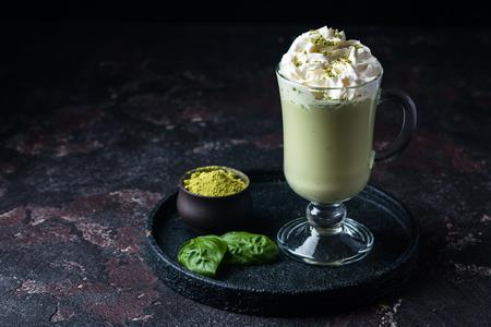 Green tea matcha latte Stock Photo