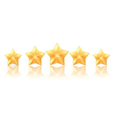 Five golden stars with reflection on white background