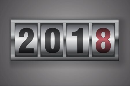 New year mechanical counter showing 2018 Stock Photo