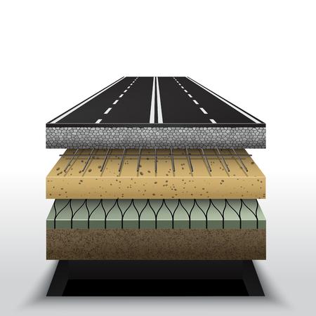 Ilustración de capas de pavimento de carretera de asfalto. Ilustración de vector