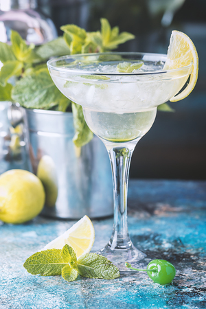desk: classic lime margarita cocktail Stock Photo
