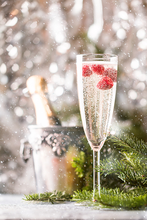 Champagne glass with raspberry and a bottle of chompagne on sparkling background