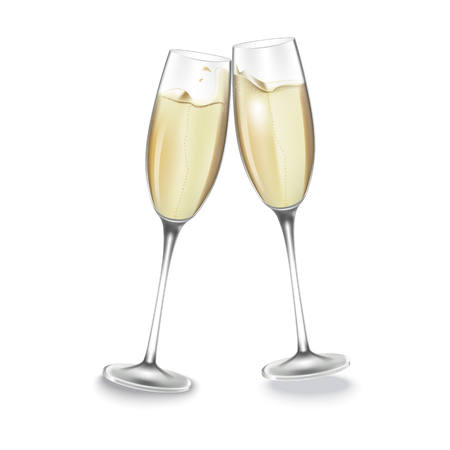 Two glasses of champagne. Merry Christmas and Happy New Year concept. Vector Illustration Vettoriali