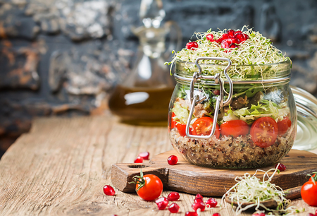 Healthy Salad in a glass jar
