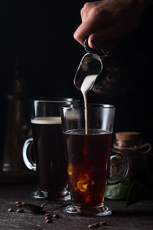 Glass cup of coffee