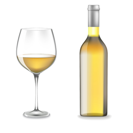 Bottle and glass of white wine Illustration