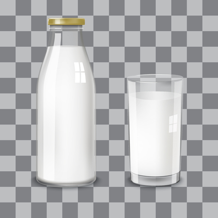 Transparent glass bottle and a glass with milk on a transparent background. Vector illustration by category of dairy products.