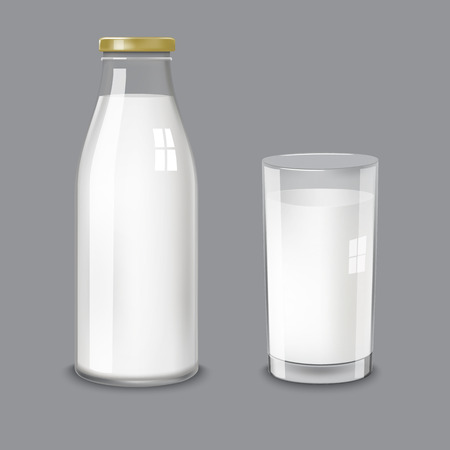 Transparent glass bottle and a glass cup with milk on a transparent background. Vector illustration by category of dairy products. Ilustração