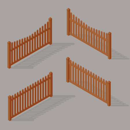 set of wooden fence Vectores