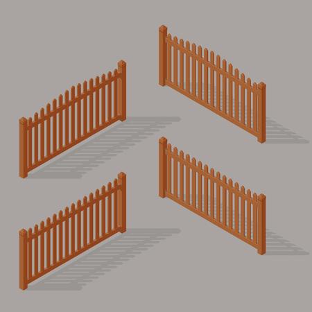 set of wooden fence Illustration