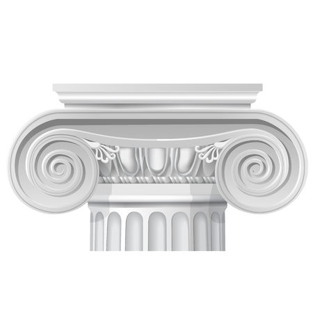Vector illustration of architectural classical order ionic capital. Vectores