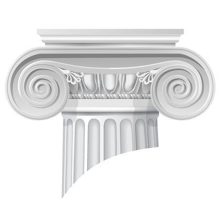 Vector illustration of architectural classical order ionic capital. Ilustração