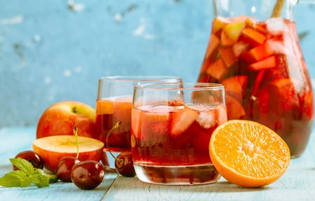 Refreshing sangria or punch with fruit Banco de Imagens