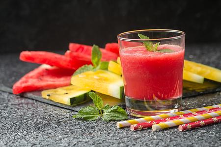 Glass of fresh watermelon juice
