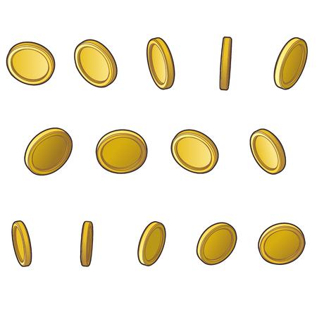 Set of coins for games. Illustration