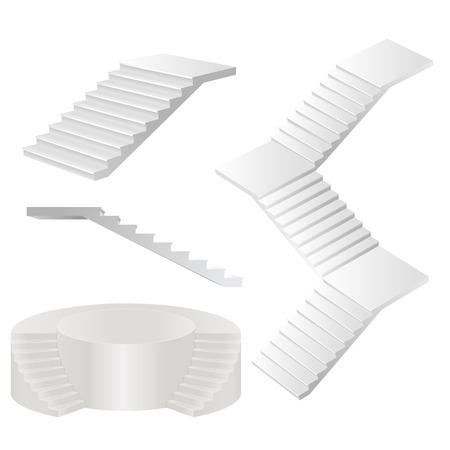 White stairs set. Иллюстрация