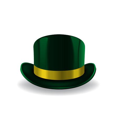 Green leprechaun hat on white background. St Patricks hat. Vector illustration