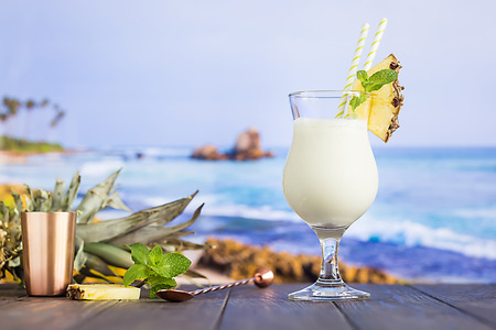 Cold pina colada cocktail Stock Photo