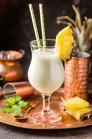Frozen Pina Colada Cocktail Stock Photo