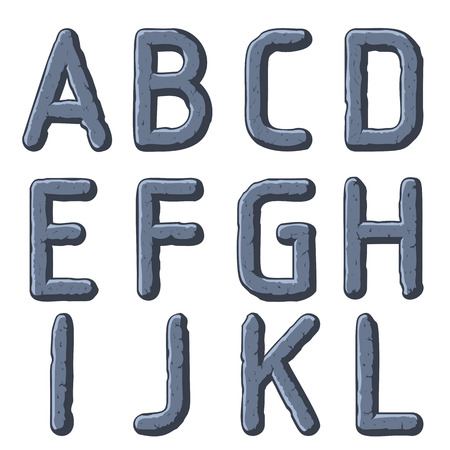 Stone carved letters, numbers and typeface symbols. Vector illustration.