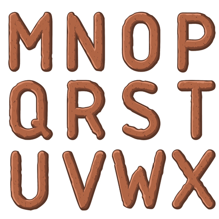 brown earth carved letters, numbers and typeface symbols. Vector illustration.