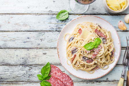 Spaghetti carbonara pasta.