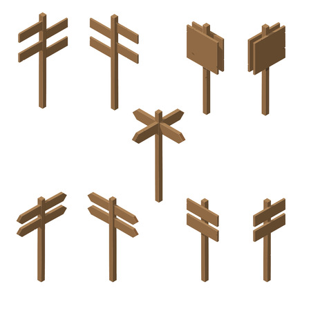 Isometric wooden pointers. Brown plywood. Rustic signs direction road. Stand for posters and ads. The arrow direction. Game design. Vector illustration.