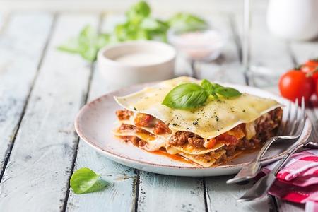 Close-up of a traditional lasagna