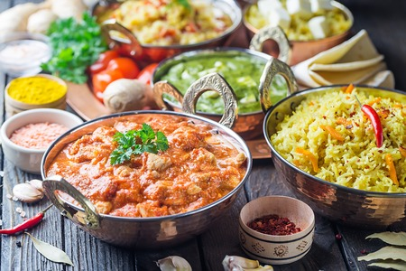 Assorted indian food Stock Photo - 103321965